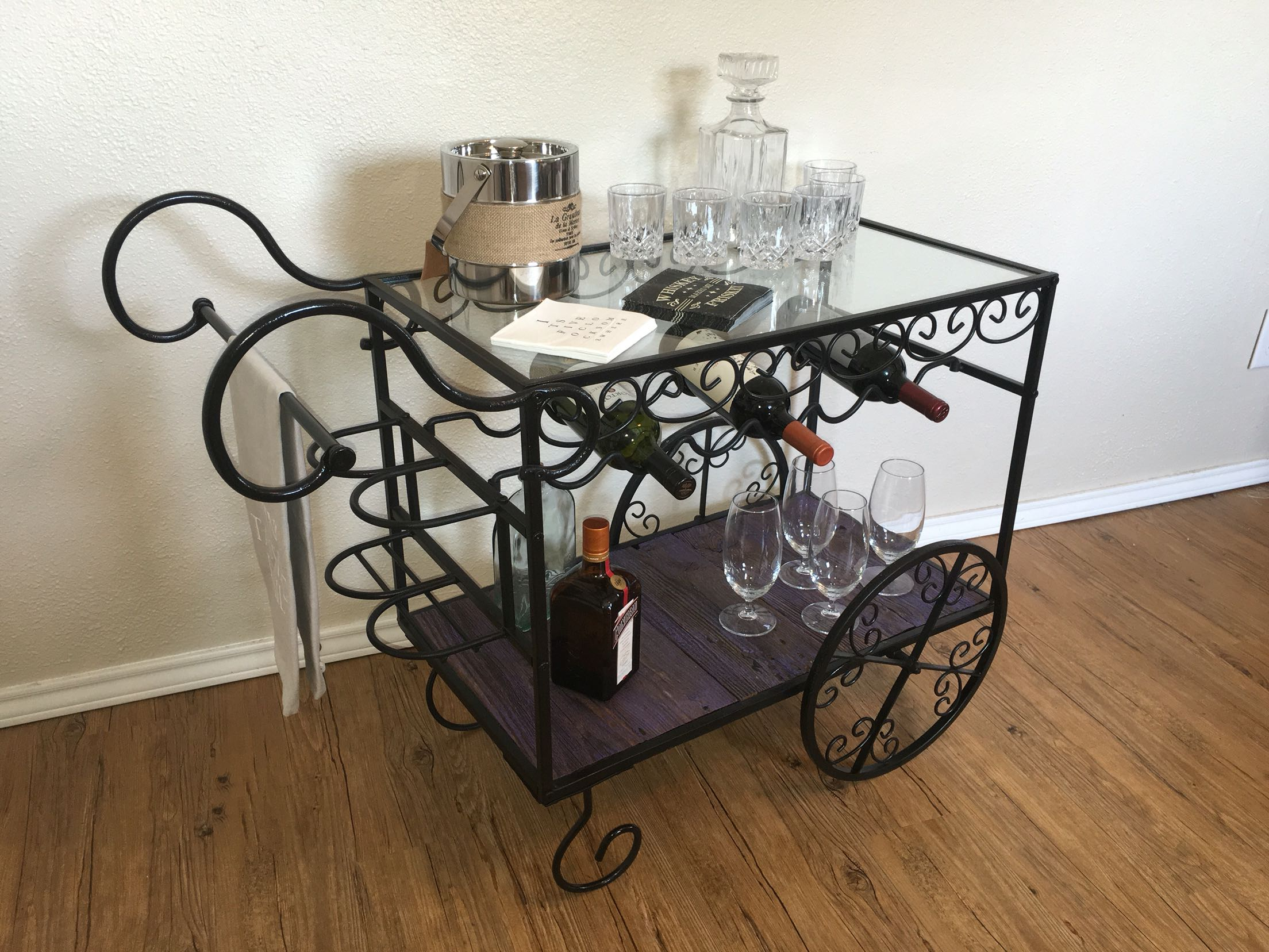 Favorite Find more Vintage Wrought Iron Bar Cart With Reclaimed Barn Wood  NG96