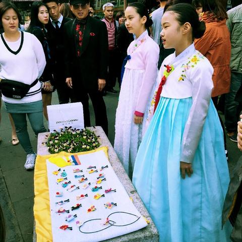 adorable schoolgirls singing