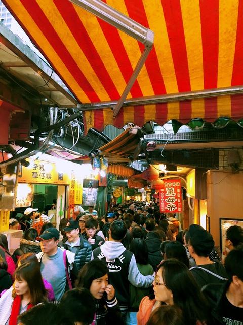 a crowded narrow street