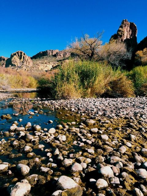 exposed river rocks in the dry season