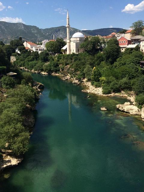 Neretva River runs through the historic town of Mostar