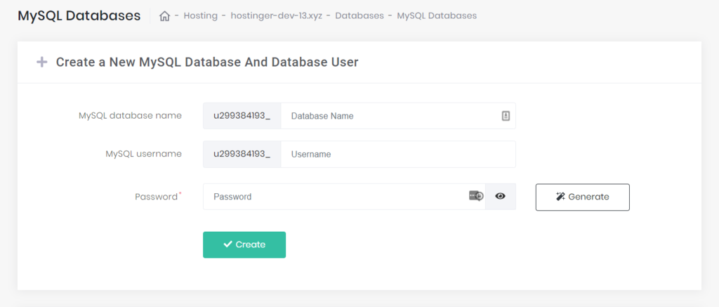 create new database in hpanel
