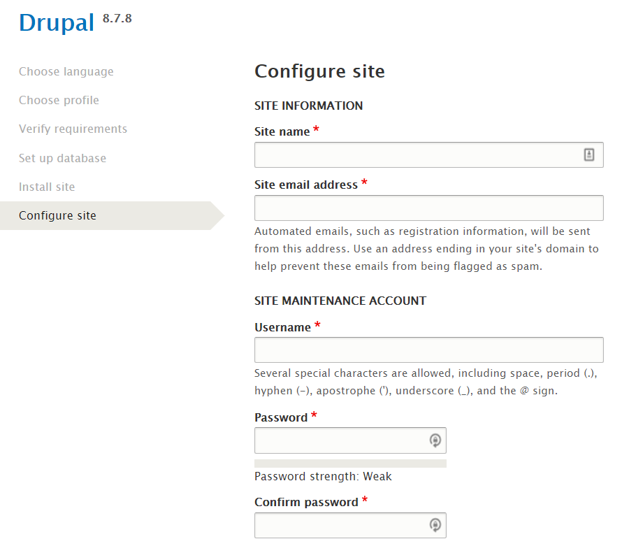 site configuration on drupal installation