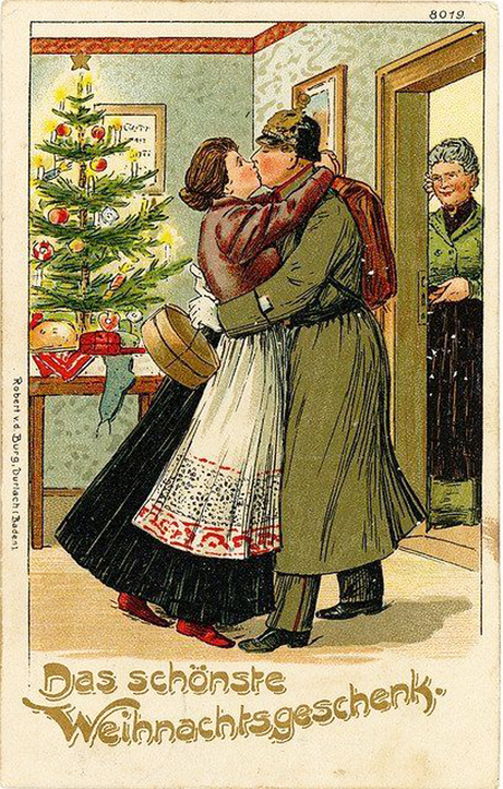 Christmas cards in wartime blog wartime wednesdays elinor florence the caption is translated as the best christmas gift meaning that this german soldier made it home for christmas m4hsunfo