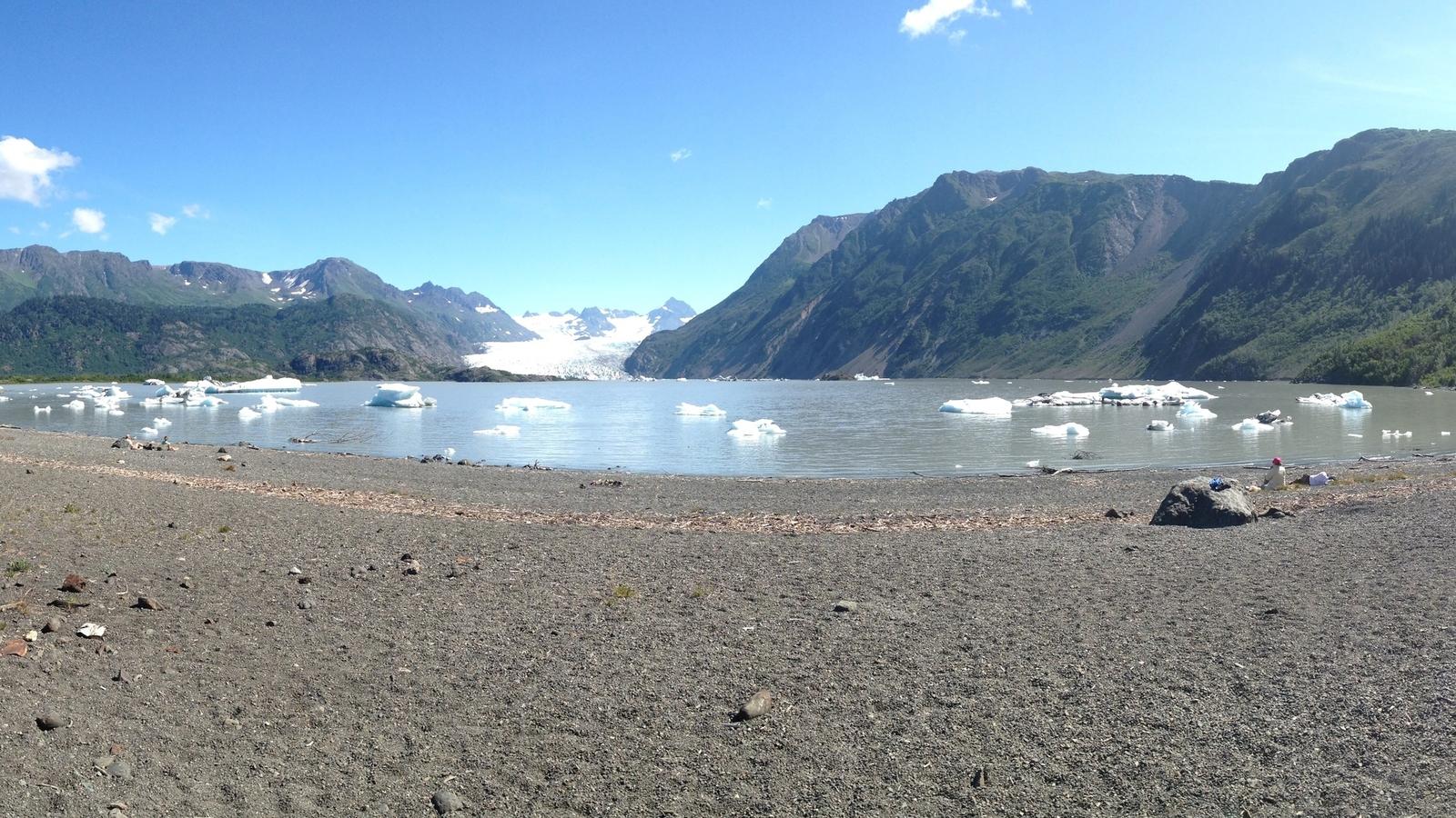 Beach view of Grewingk Glacier Lake