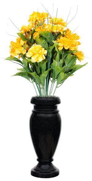 ebony vase with flowers