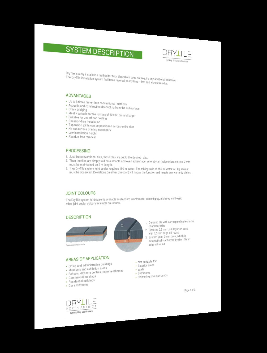 drytile system description. Data about dry tiling.