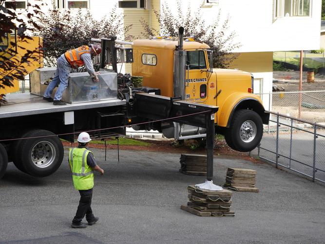Evergreen commercial HVAC install truck