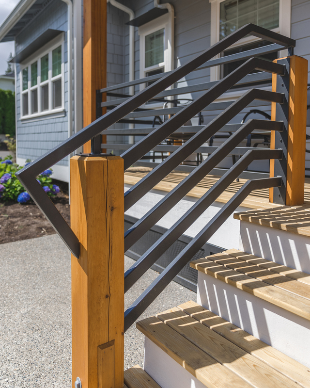 wooden outdoor patio stairs with designer railing in Bellingham area