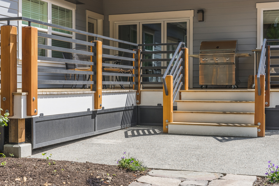renovated porch with designer railings