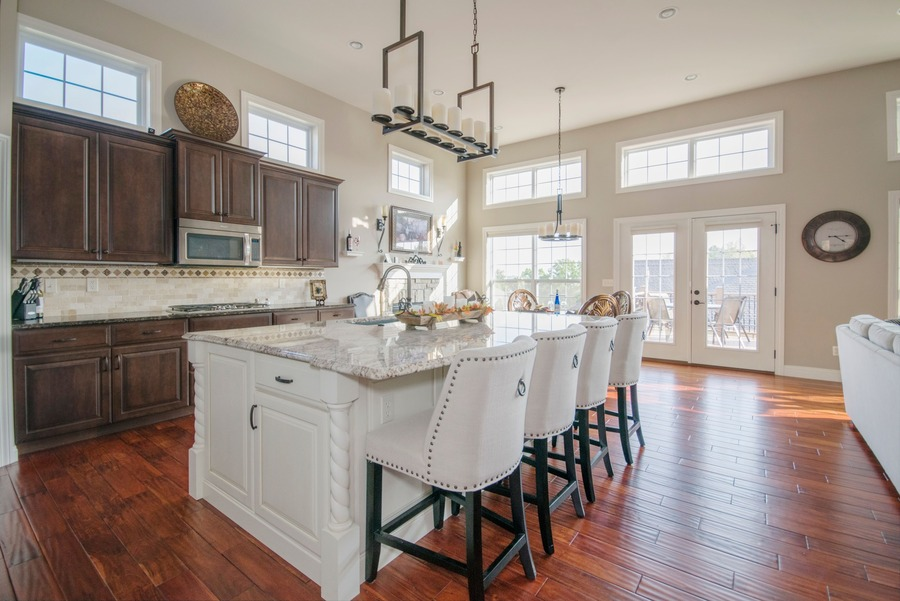 kitchen with big windows and french doors