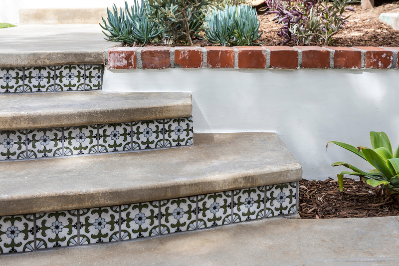decor hand painted tiles on exterior steps
