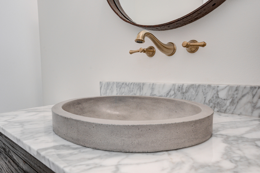 modern sign with raised basin