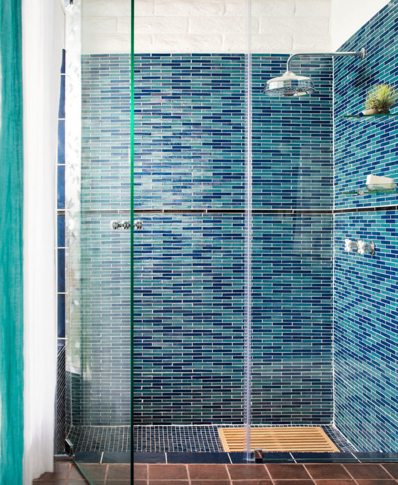 blue blend glass shower tile from oceanside glass tile available in Seattle at Ambiente tile