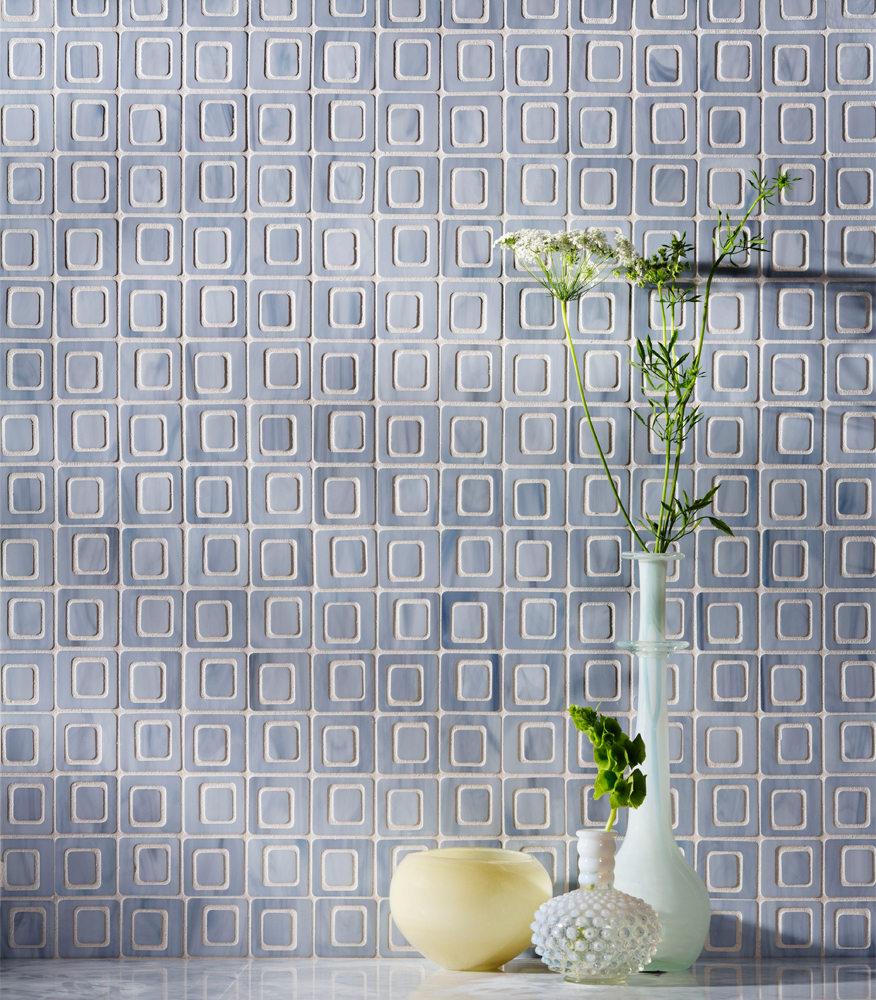 blue gray glass tile mosaic wall tile