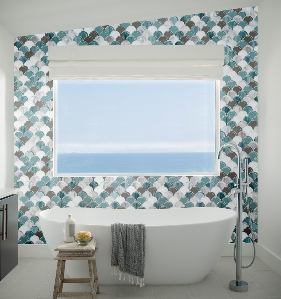 scallop glass mosaic tile in blue white and brown
