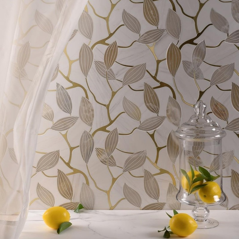 botanical inspired stone mosaic from Mosaique Surface. The gold inlay and stone can be changed to your own preference of stone