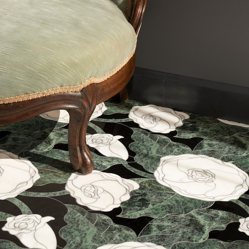 Rose stone mosaic flooring by New Ravenna from the Bright Young Things collection. Pick your stone and customize the mosaic to your own design