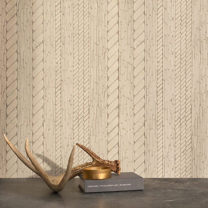 textile inspired tile mosaic backsplash. Choose your favorite material for this made to order mosaic from New Ravenna