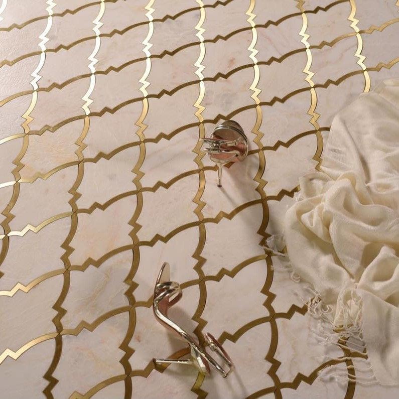 pink and brass luxury flooring from the mosaic makers at Mosaique Surface