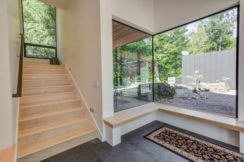 Custom foyer with garden view