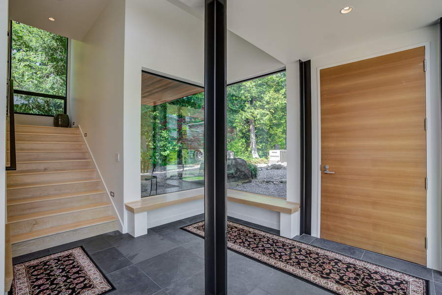 view of custom foyer from outdoors