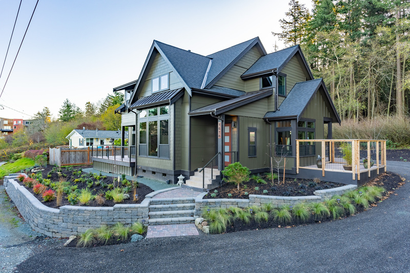 Bellingham designer home with hip and valley roof and raised garden beds