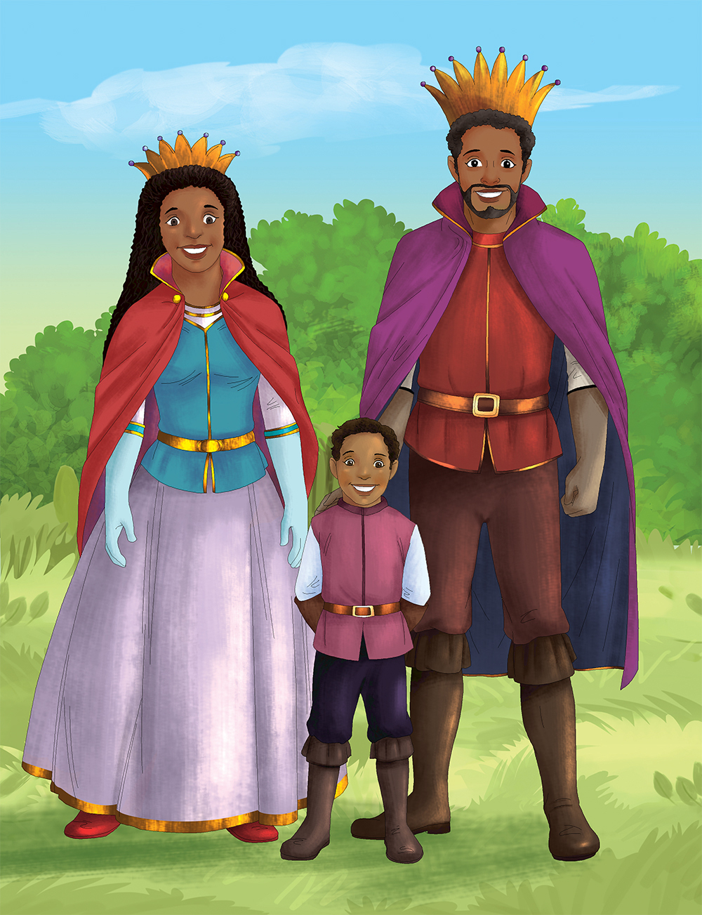 prince stands in a clearing with his queen mother and king father