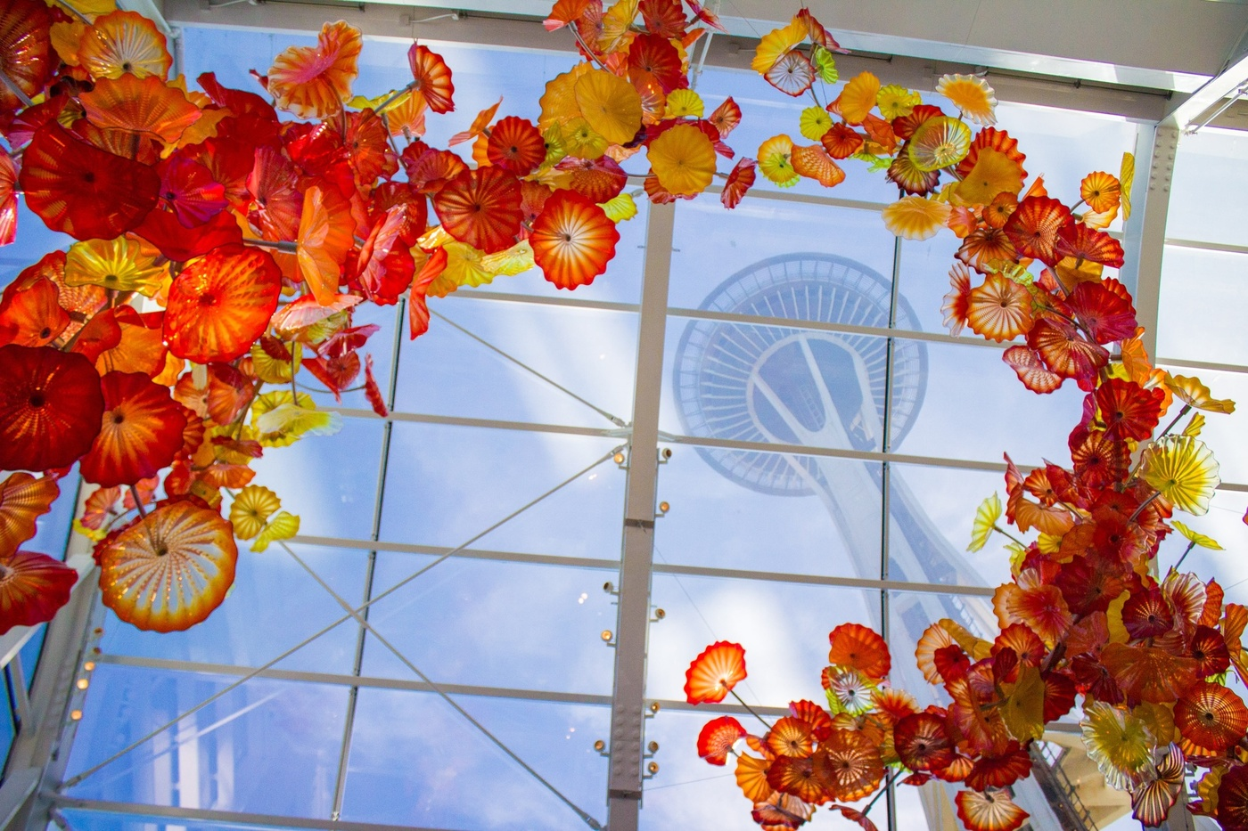 chihuly garden of glass with Space Needle