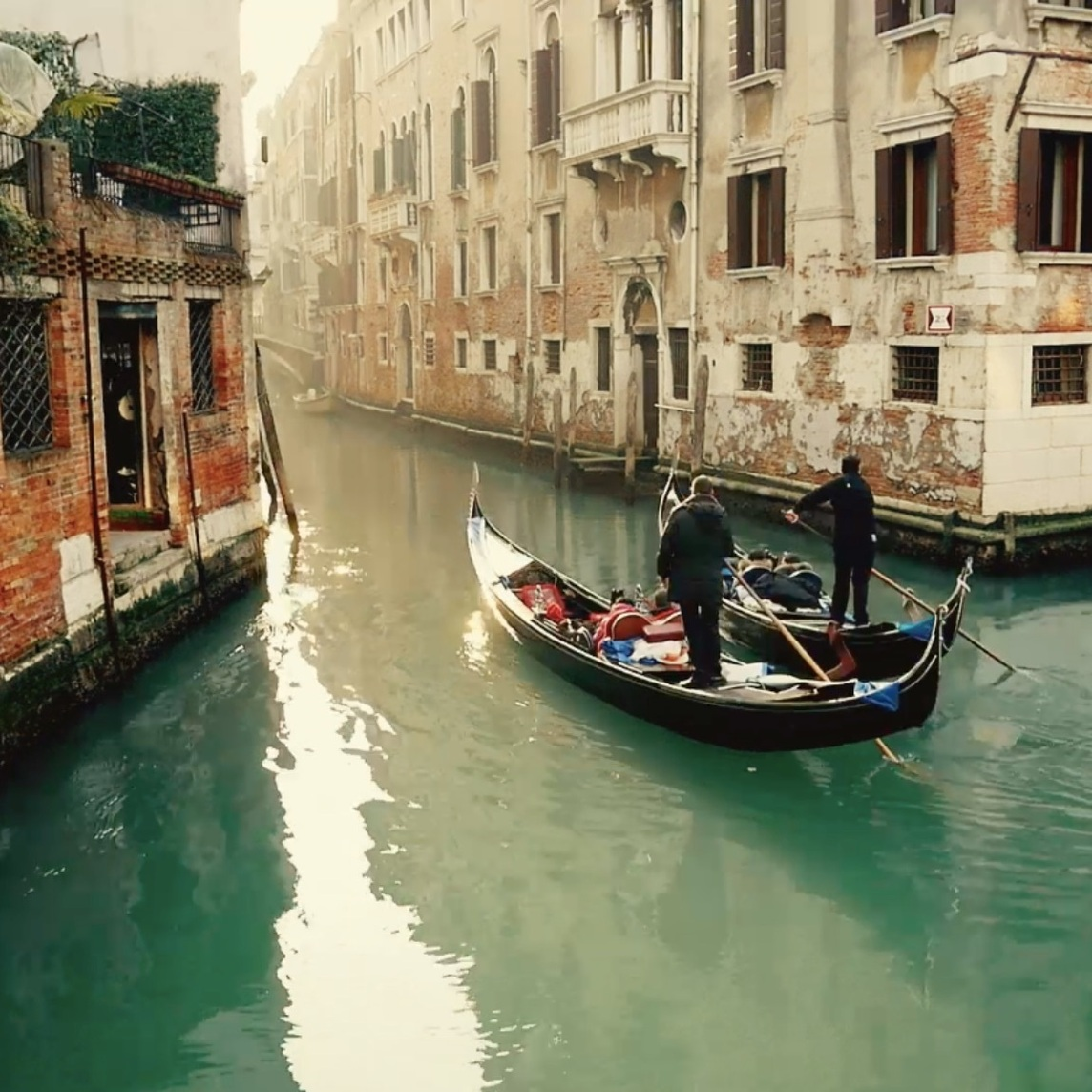 Two gondolas in the Venice canals