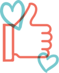 Illustrated icon of a thumbs up, representing social media positive engagement