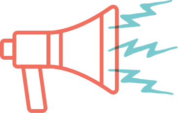 Illustrated icon of a megaphone, illustrating excitement or news