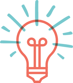 Illustrated icon of a light bulb, representing ideas or new thinking