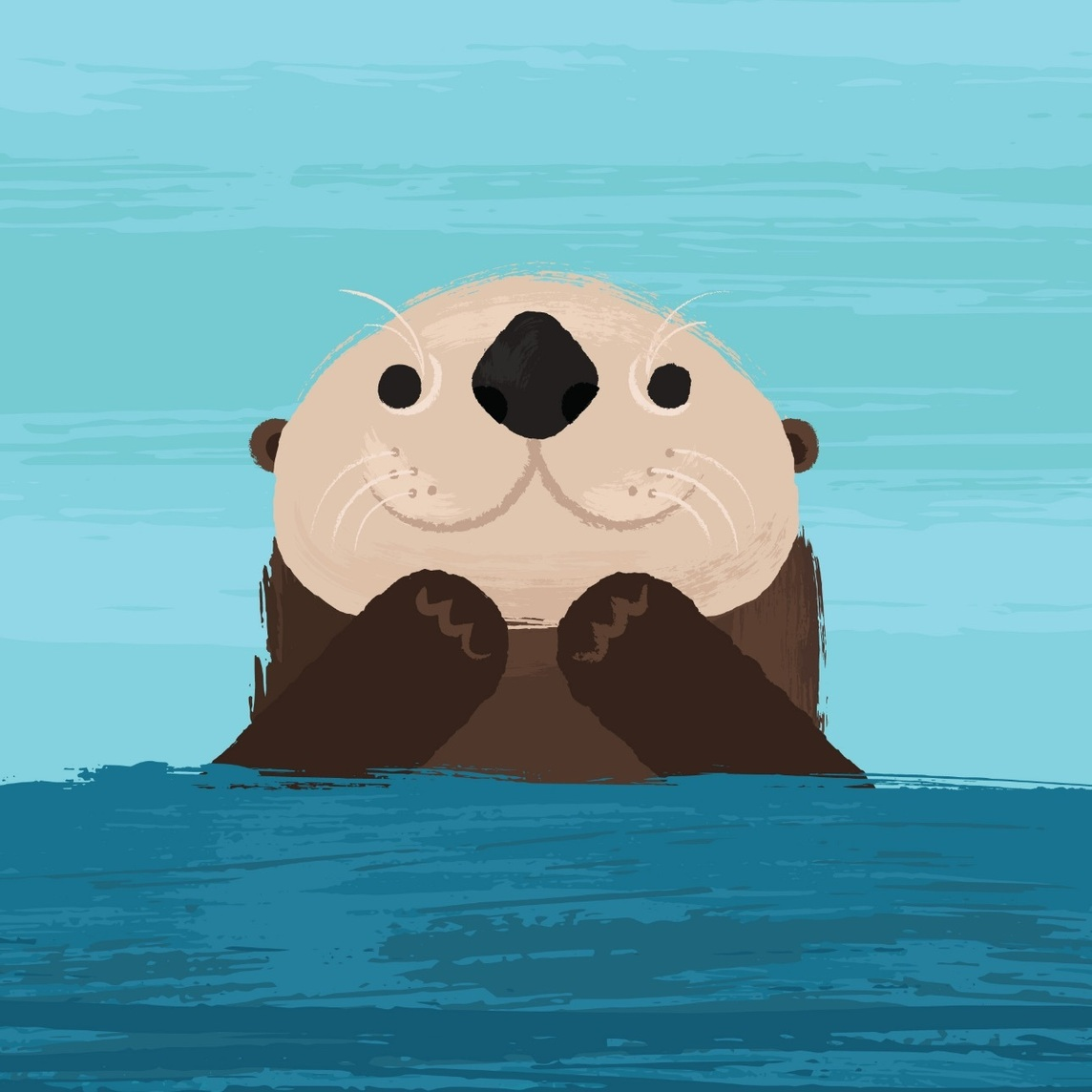 Cute illustration of an otter floating on top of the water and smiling