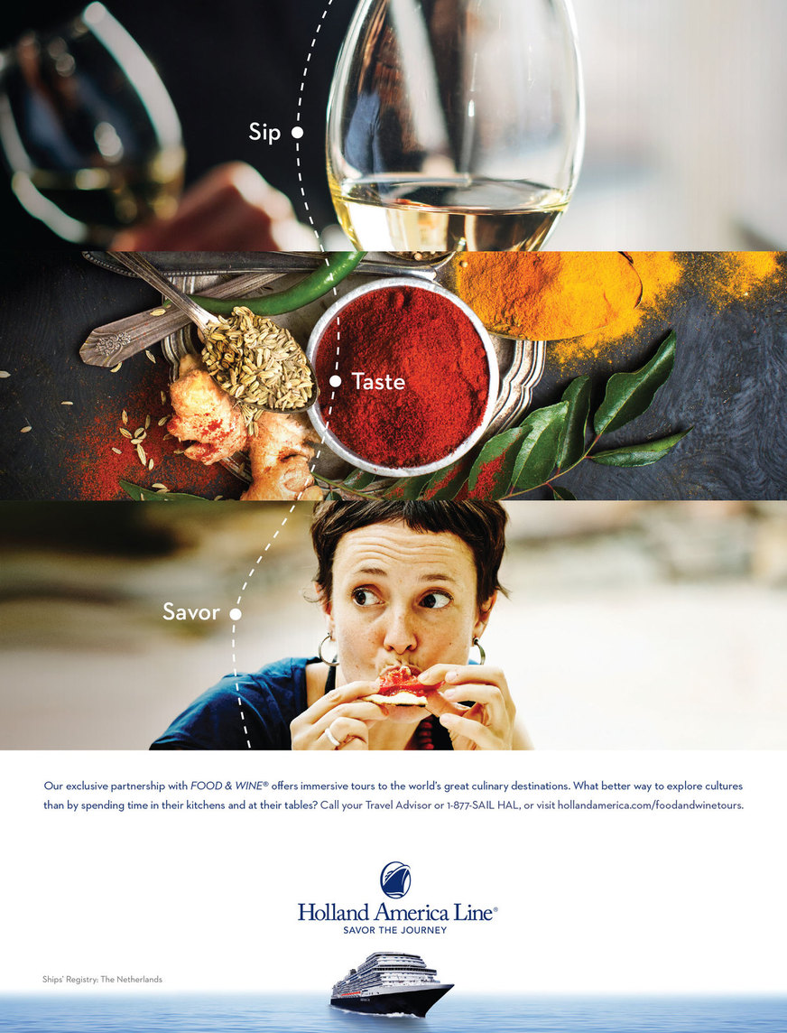 Print ad with scenes of food and wine experiences
