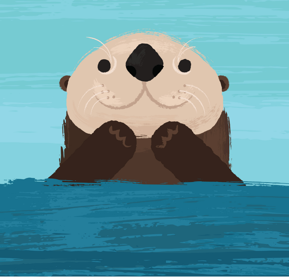 Cute illustration of sea otter face and hands