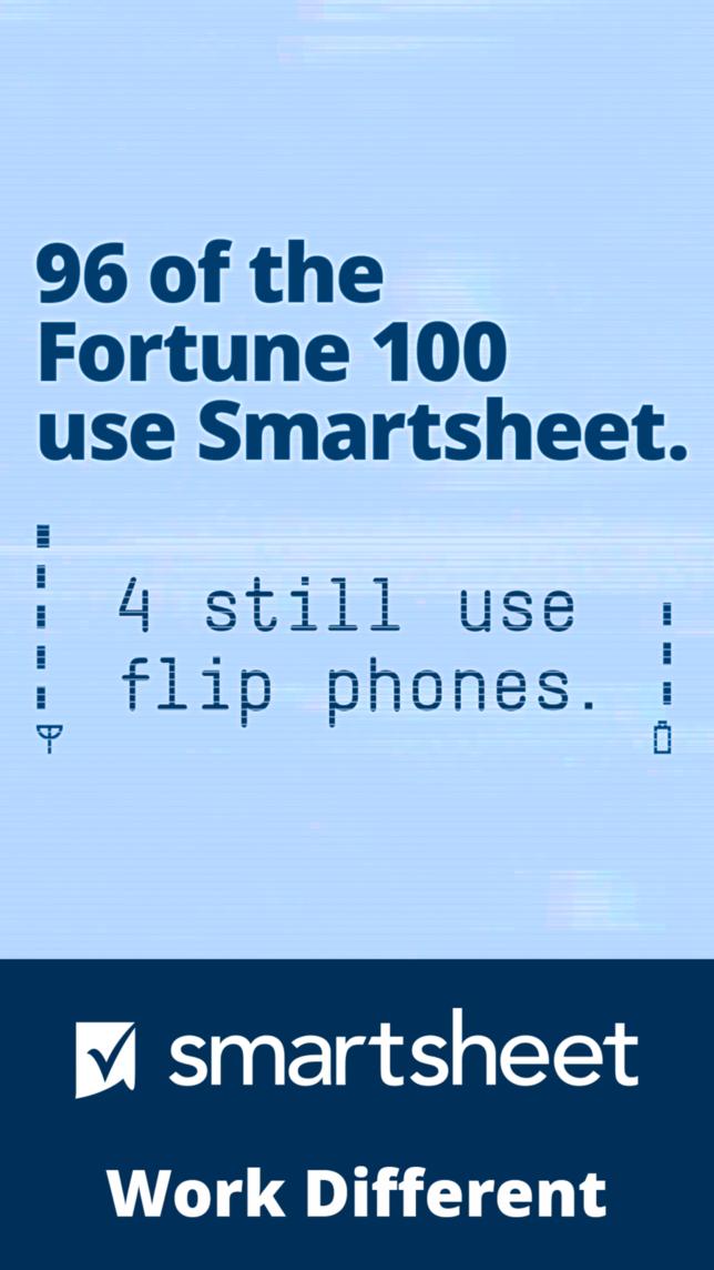 Digital ad for Smartsheet with headline 96 of the Fortune 100 use Smartsheet, 4 still us flip phones