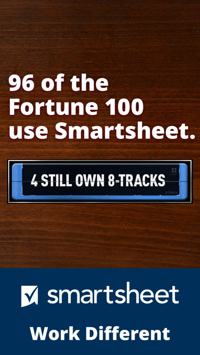 Digital ad for Smartsheet with headline 96 of the Fortune 100 use Smartsheet, 4 still own 8 Tracks