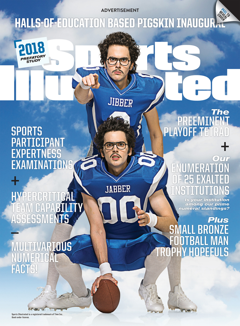 A Sports Illustrated cover wrap ad with two football players in blue uniforms