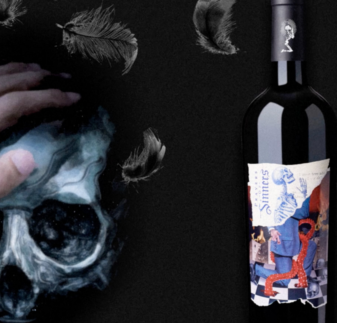 A red wine bottle with macabre illustrations
