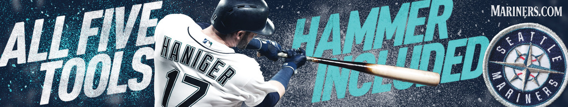 Transit ad with Mitch Haniger hitting a ball and the headline All Five Tools, Hammer Included