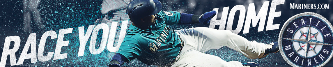Transit ad with a Seattle Mariners player sliding into home base and the headline Race You Home