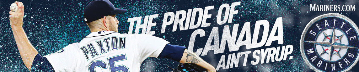 Transit ad with Canadian pitcher James Paxton in mid-pitch and the headline The Pride of Canada Ain't Syrup