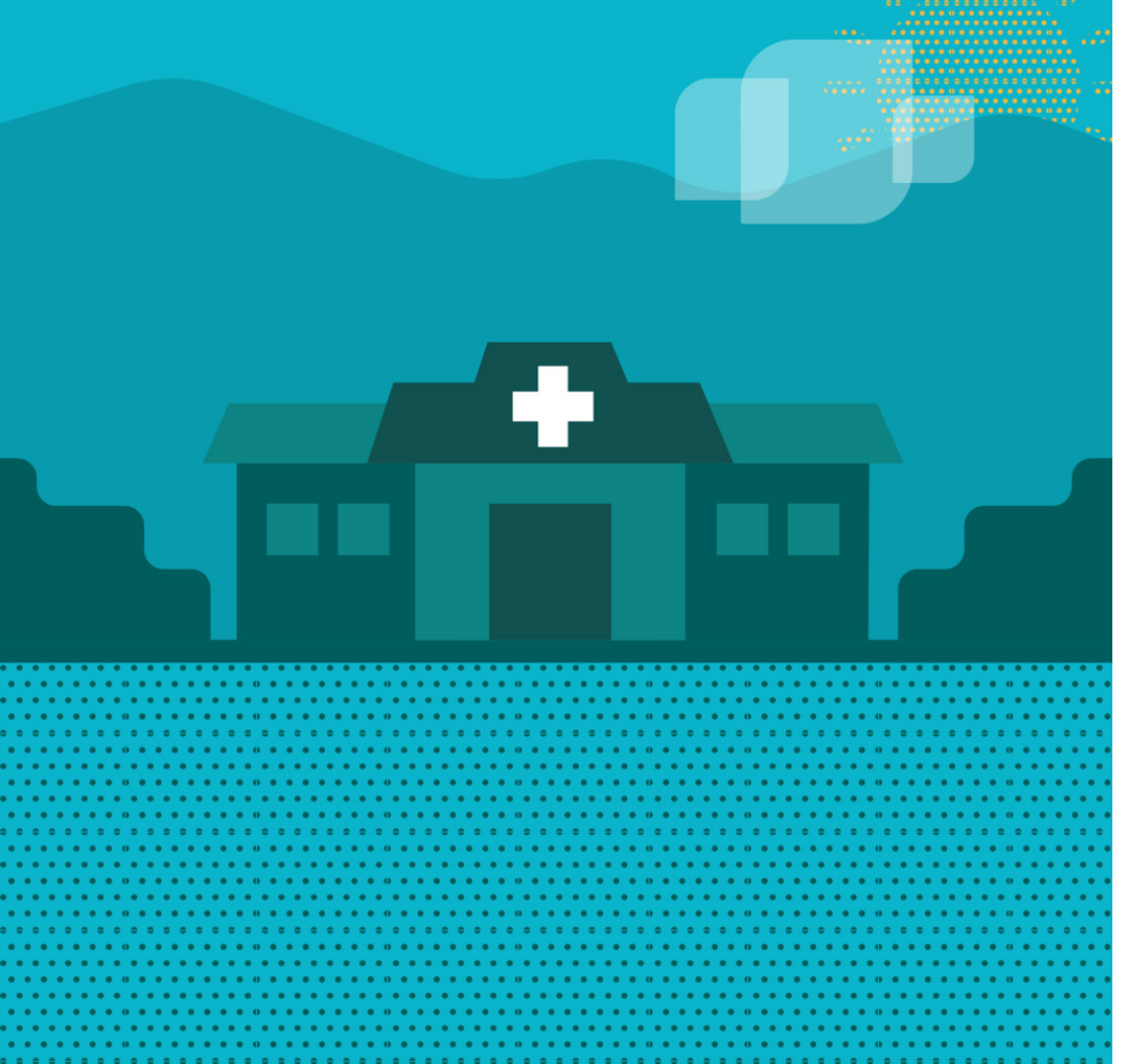 Illustration in shades of green representing a medical facility