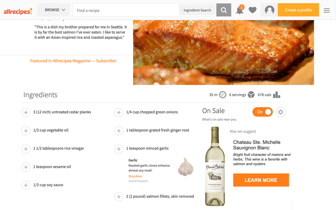 Screen grab from the AllRecipes website featuring wine pairings