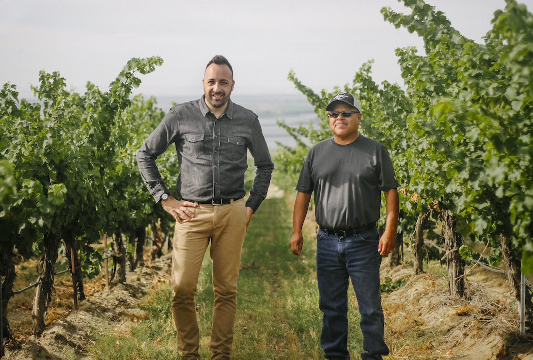 Two men standing side by side in a vineyard