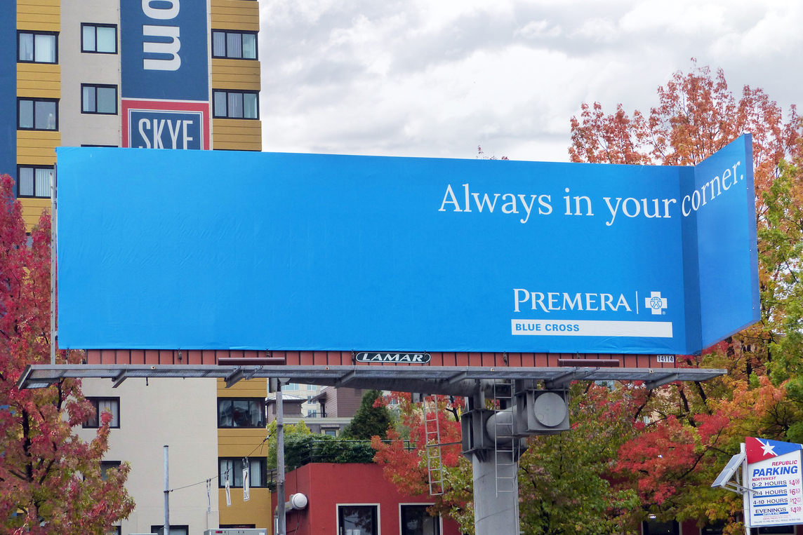 Billboard for Premera Blue Cross with 3D corner and headline reads Always in Your Corner