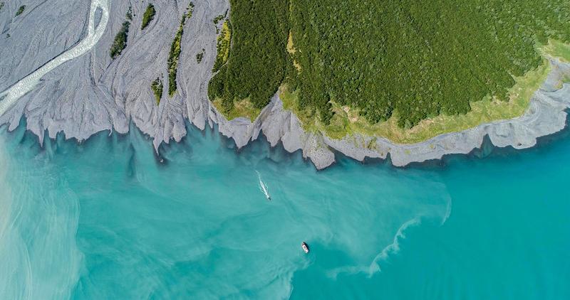 Drone view of glacier