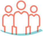 Illustrated icon of people, representing a group or audience