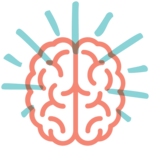 Illustrated icon of a brain, representing consideration, insight or ideas